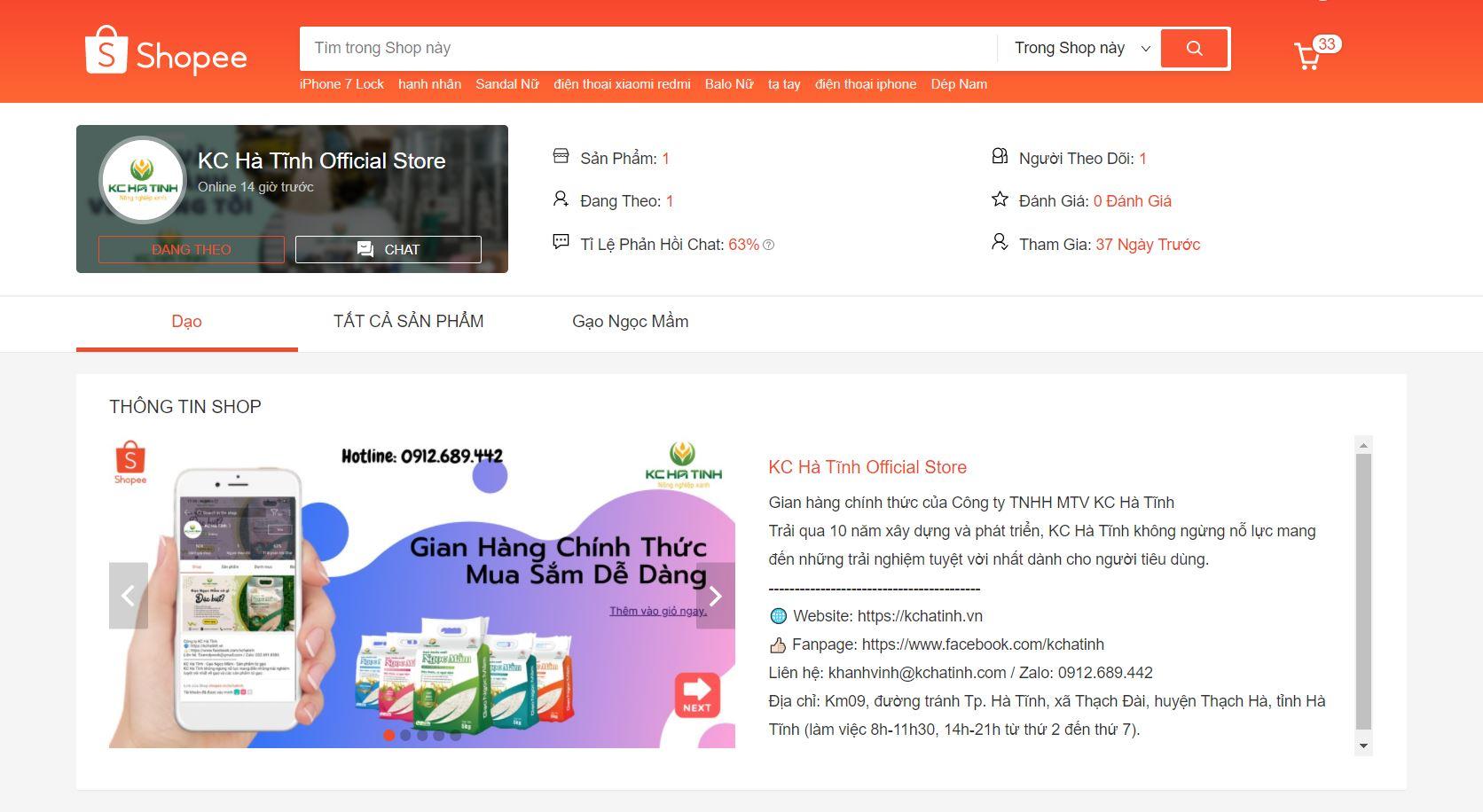 KC Hà Tĩnh tham gia thương mại điện tử shopee
